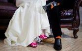 Różowe buty panny młodej